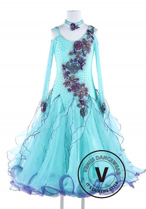 Spring Blue Standard Smooth Waltz Tango Dance Dress