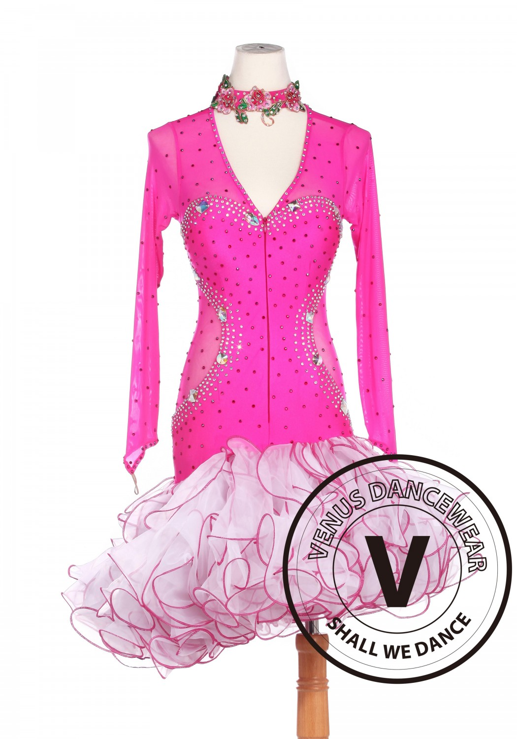 Pink Latin Salsa Tango Cha Cha Tango Rumba Competition Dance Dress