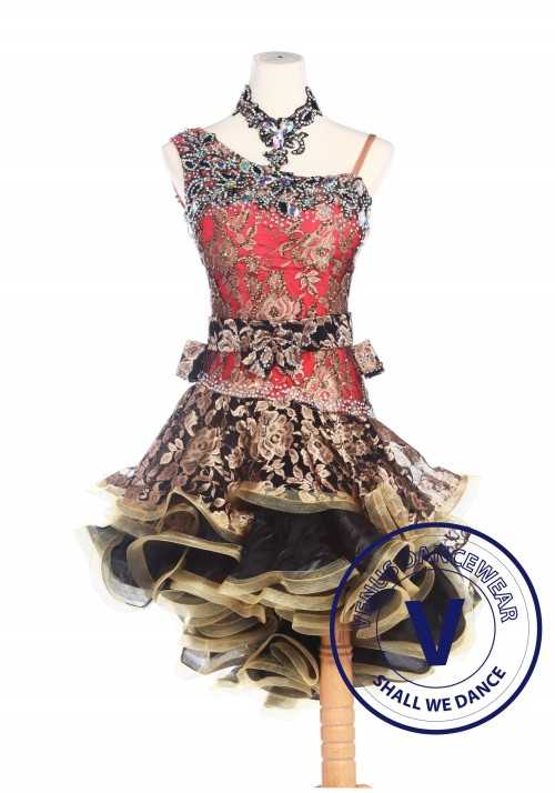 Golden Floral Women Salsa Latin Rumba Swing Competition Dancewear