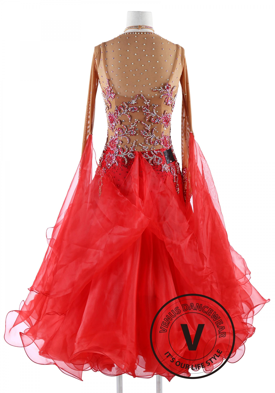 Scarlett Red Standard Foxtrot Waltz Quickstep Dress on Foxtrot Dance