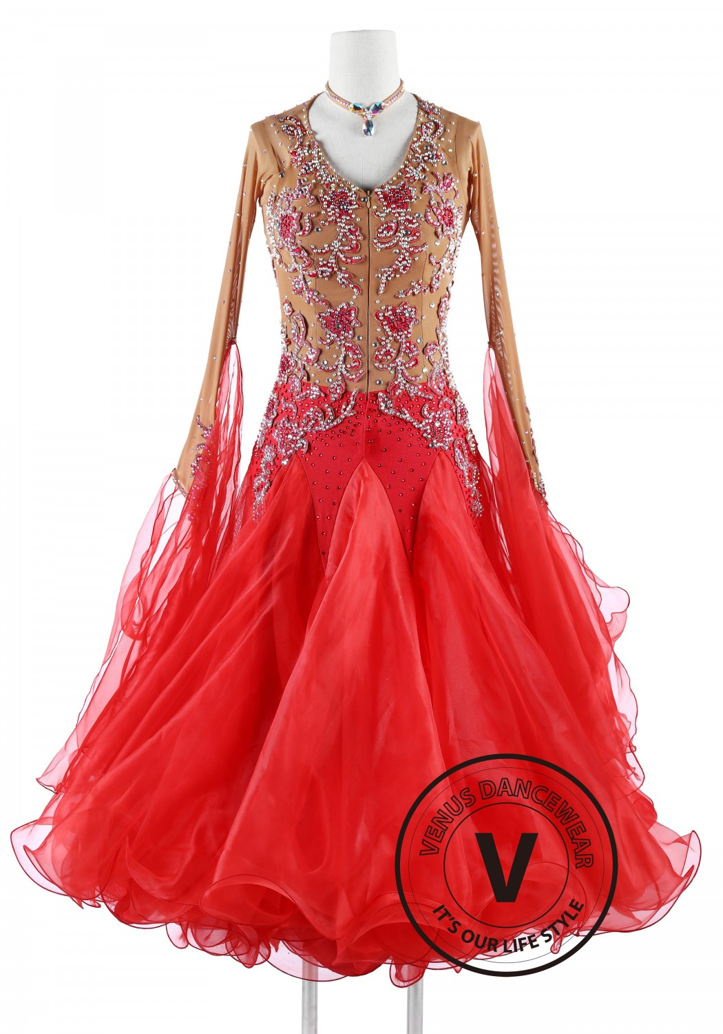 Scarlett Red Standard Foxtrot Waltz Quickstep Dress