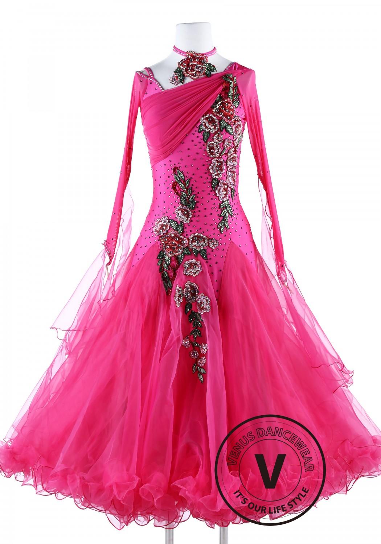 Spring Flower Pink Standard Waltz Foxtrot Waltz Quickstep Dress
