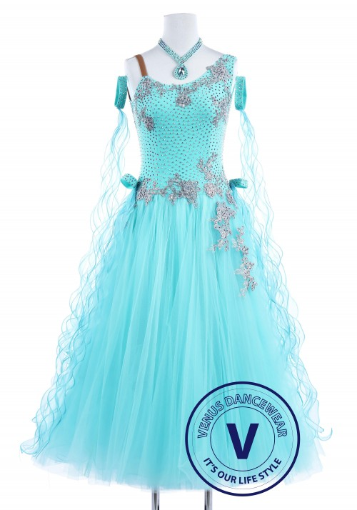 Baby Blue Swan Smooth Waltz Quickstep Women Dancing Competition Dress