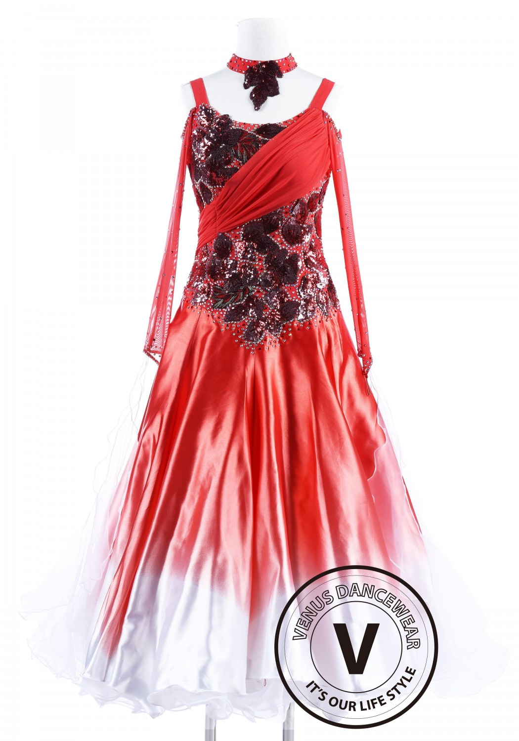 Red Poppy with White Edge Waltz Quickstep Competition Dancing Dress