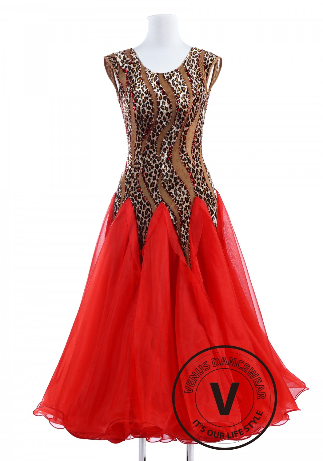 Leopard Lady Red Smooth Foxtrot Quickstep Women Competition Dress