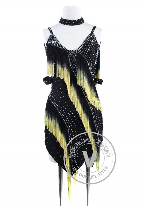 Black Yellow Edge Fringe Tango Latin Rhythm Competition Dress