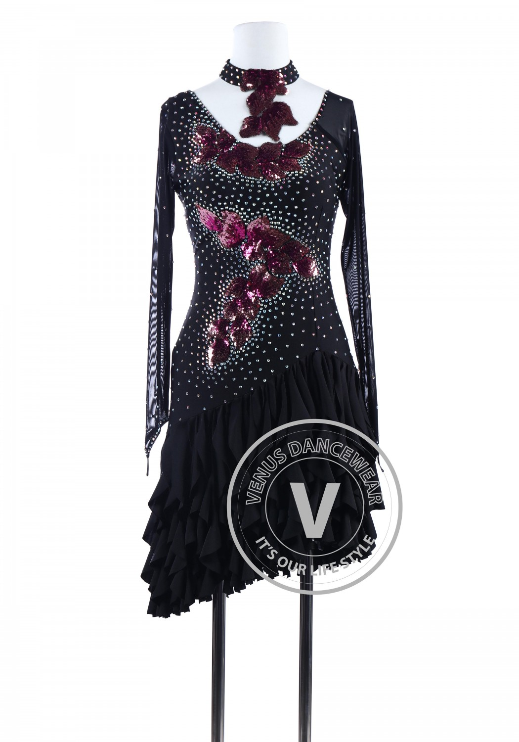 Black Sequin Applique Tango Latin Rhythm Competition Dress