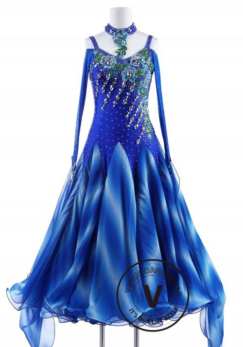 Alps Mountain Blue Standard Foxtrot Waltz Quickstep Dress