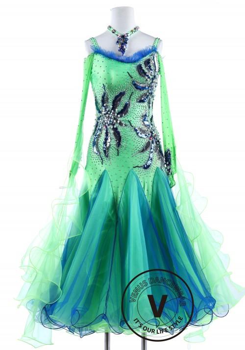 Blue and Green Sequin Pearl flower Standard Foxtrot Waltz Quickstep Dress