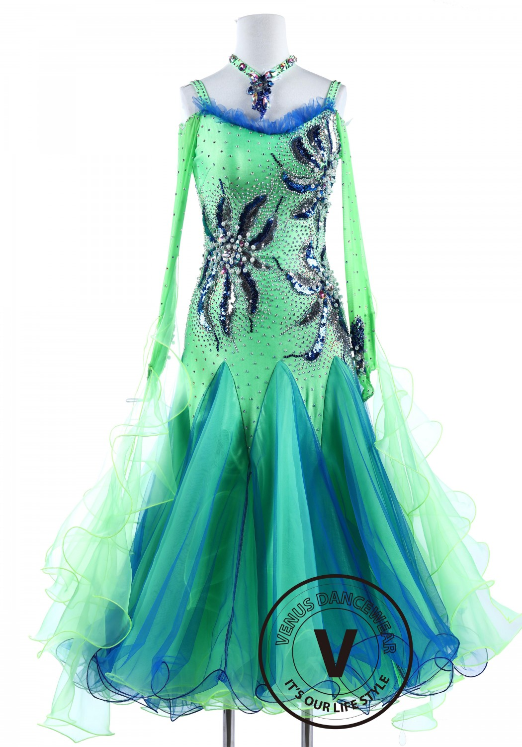 Blue and Green Sequin Pearl flower Standard Foxtrot Waltz Quickstep Dress