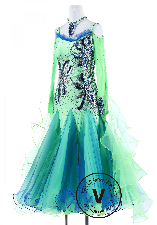 Blue And Green Sequin Pearl Flower Standard Foxtrot Waltz Quickstep Dress on Foxtrot Dance