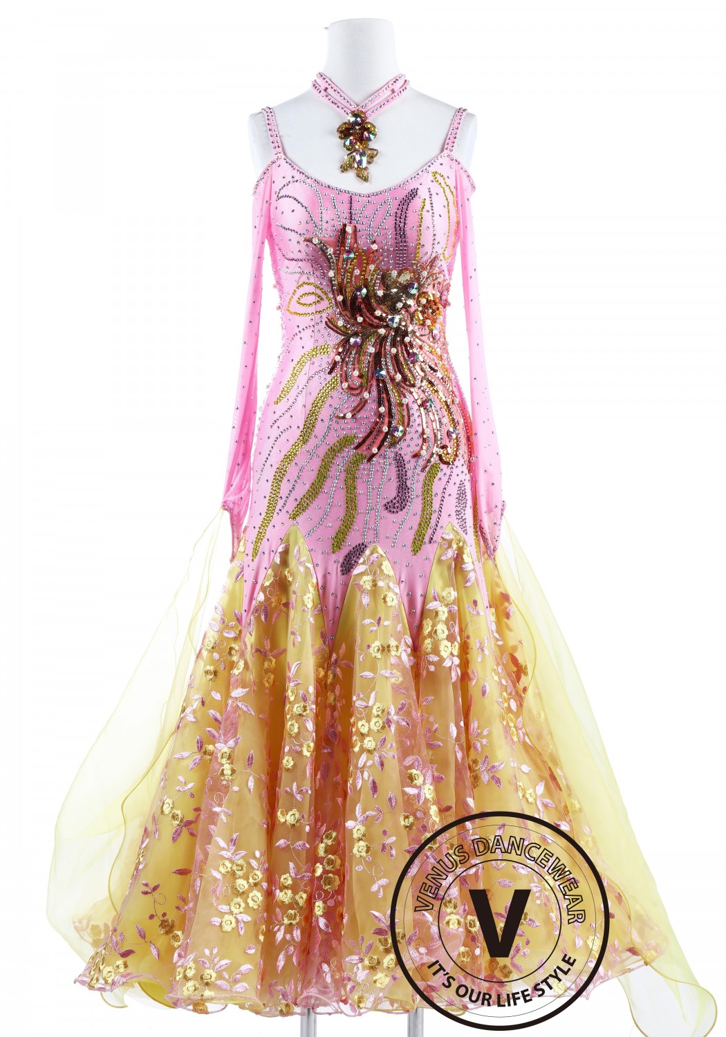 Colorful Fireworks Smooth Standard Foxtrot Waltz Quickstep Dress