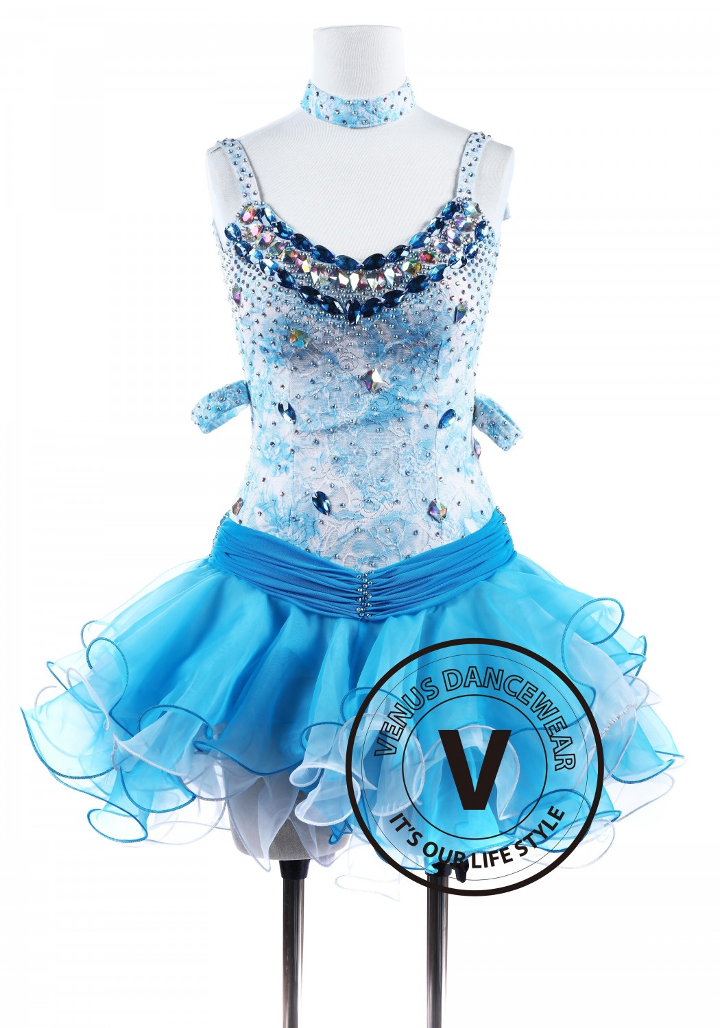 Ocean Lace Flower Tango Latin Rhythm Salsa Competition Dress