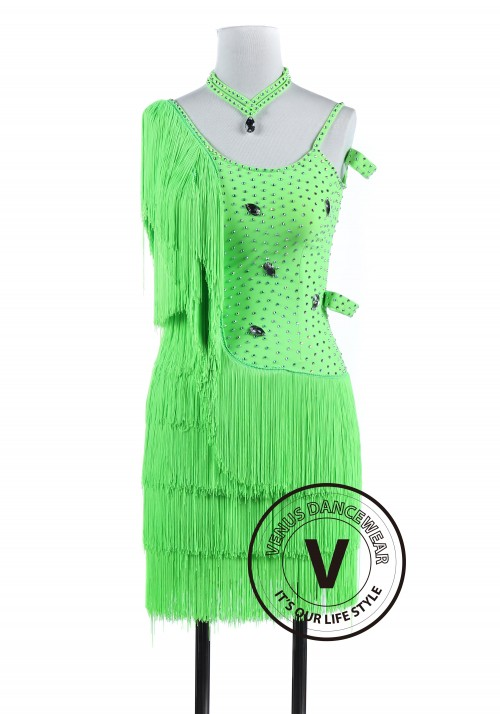 Green Fringe Tango Salsa Latin Rhythm Competition Dress