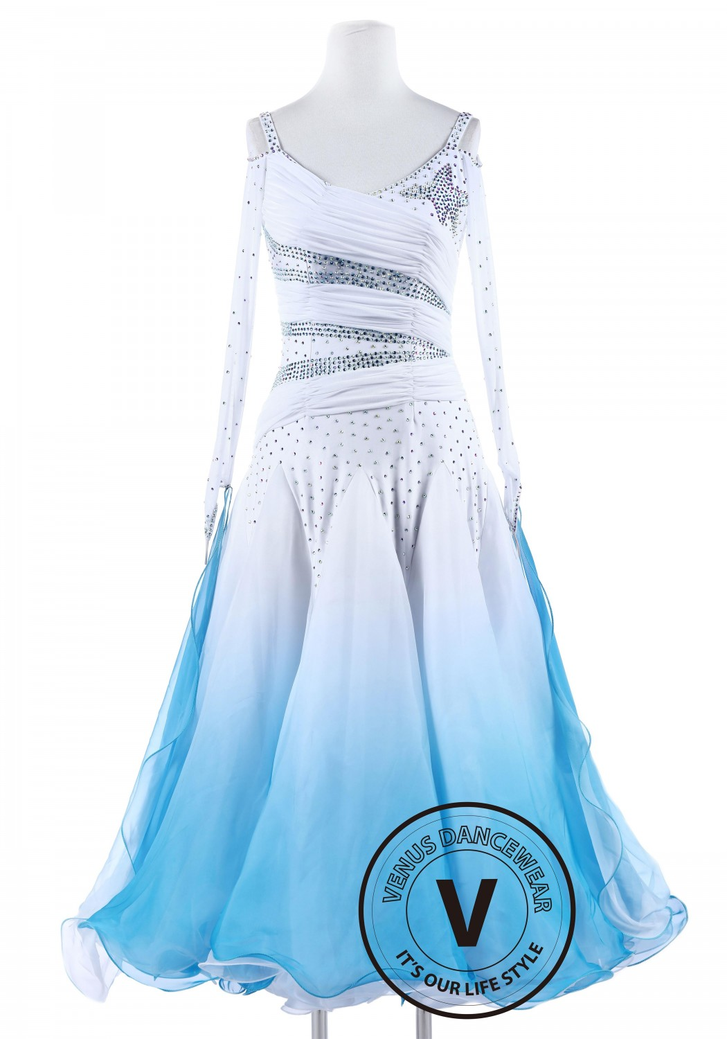 White and Blue Gradational Ballroom Competition Standard Waltz Smooth Foxtrot Women Dance Dress Collection