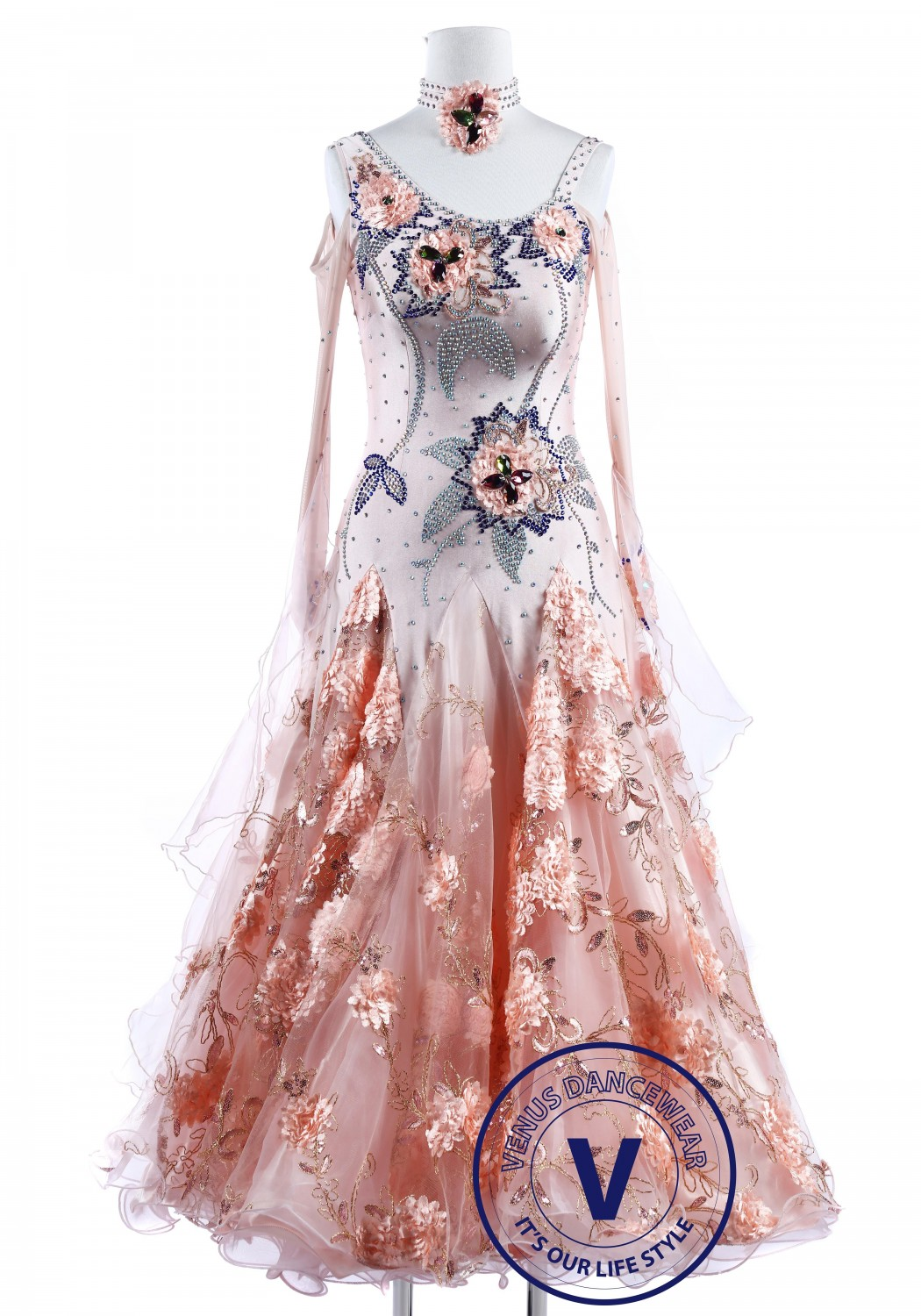 Apricot Pinkish Gray Standard Smooth Foxtrot Waltz Quickstep Dress
