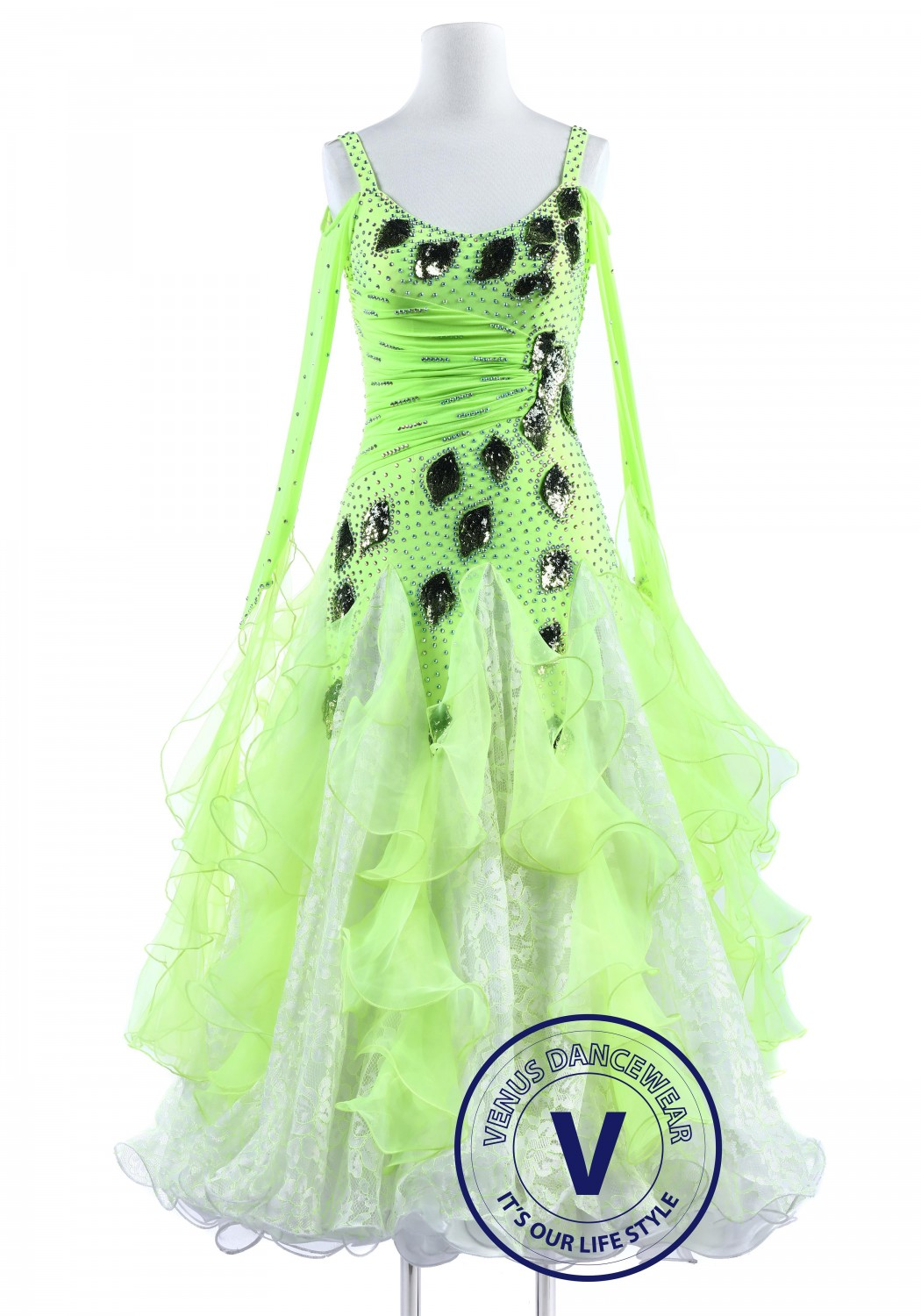 Green Leaf and Lace Standard Smooth Foxtrot Waltz Quickstep Dress