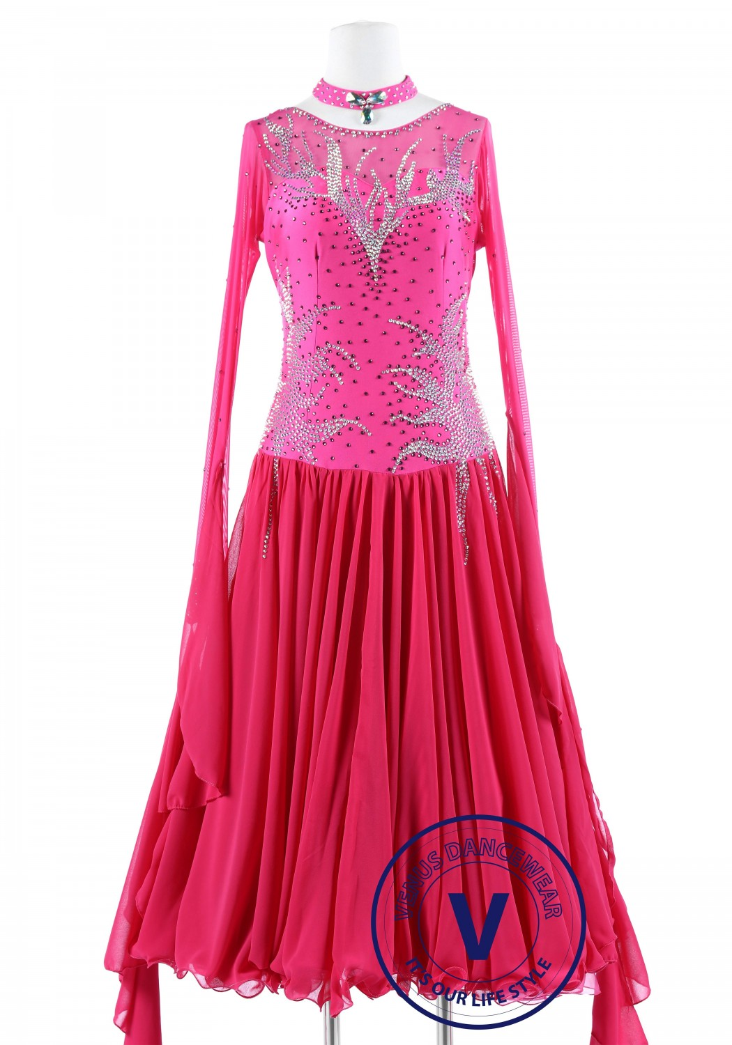 Pink Ice Standard Smooth Foxtrot Waltz Quickstep Dress