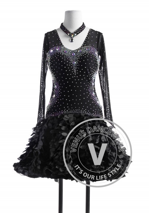 Black Cuckoo Tango Salsa Latin Rhythm Competition Dress