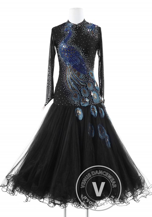 Peacock in Dark Standard  Foxtrot Waltz Quickstep Dress