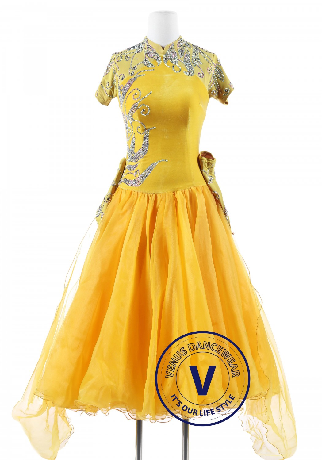 Yellow Velvet Cheongsam Standard Foxtrot Waltz Quickstep Dress