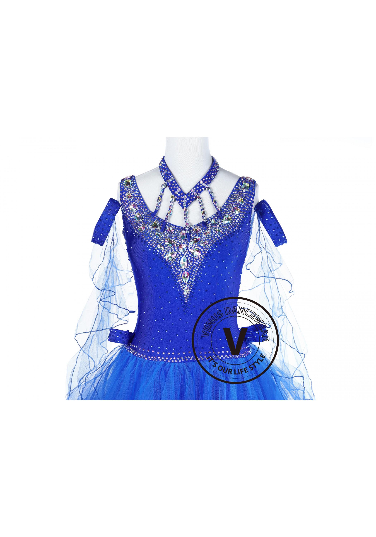 Royal Blue Princess Standard Foxtrot Waltz Quickstep Dress on Foxtrot Dancers