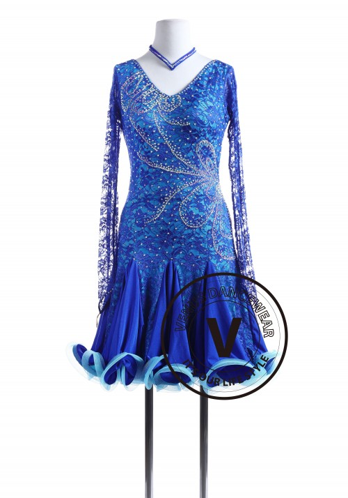 Royal Blue Lace Tango Salsa Latin Rhythm Competition Dress