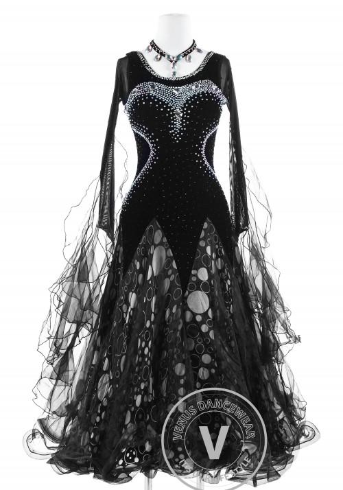 Heart Shap Black Standard Foxtrot Waltz Quickstep Dress