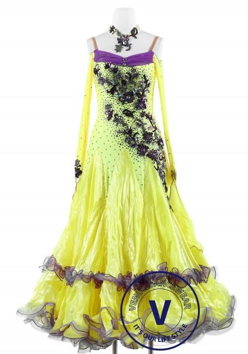 Yellow with Plum Flower Standard Foxtrot Waltz Quickstep Dress