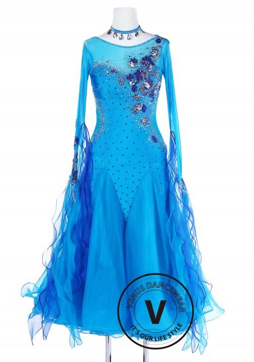Blue Water Spirit Standard Foxtrot Waltz Quickstep Dress