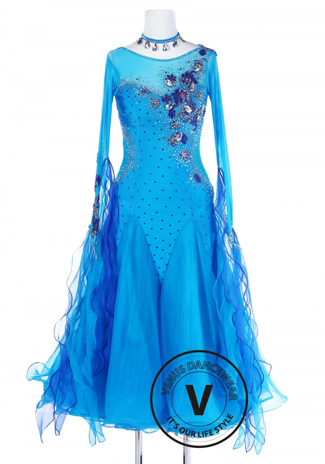 Blue Water Spirit Standard Foxtrot Waltz Quickstep Dress