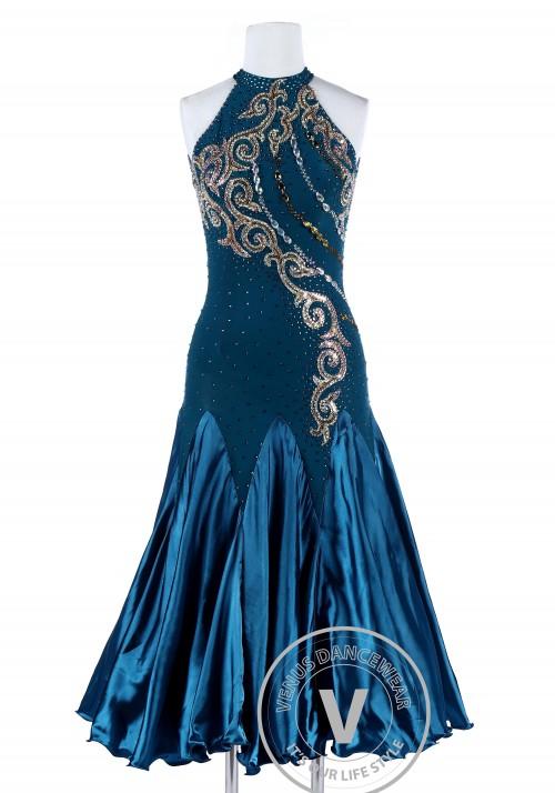 Exotic Atlantic Dark Blue Standard Foxtrot Waltz Quickstep Dress