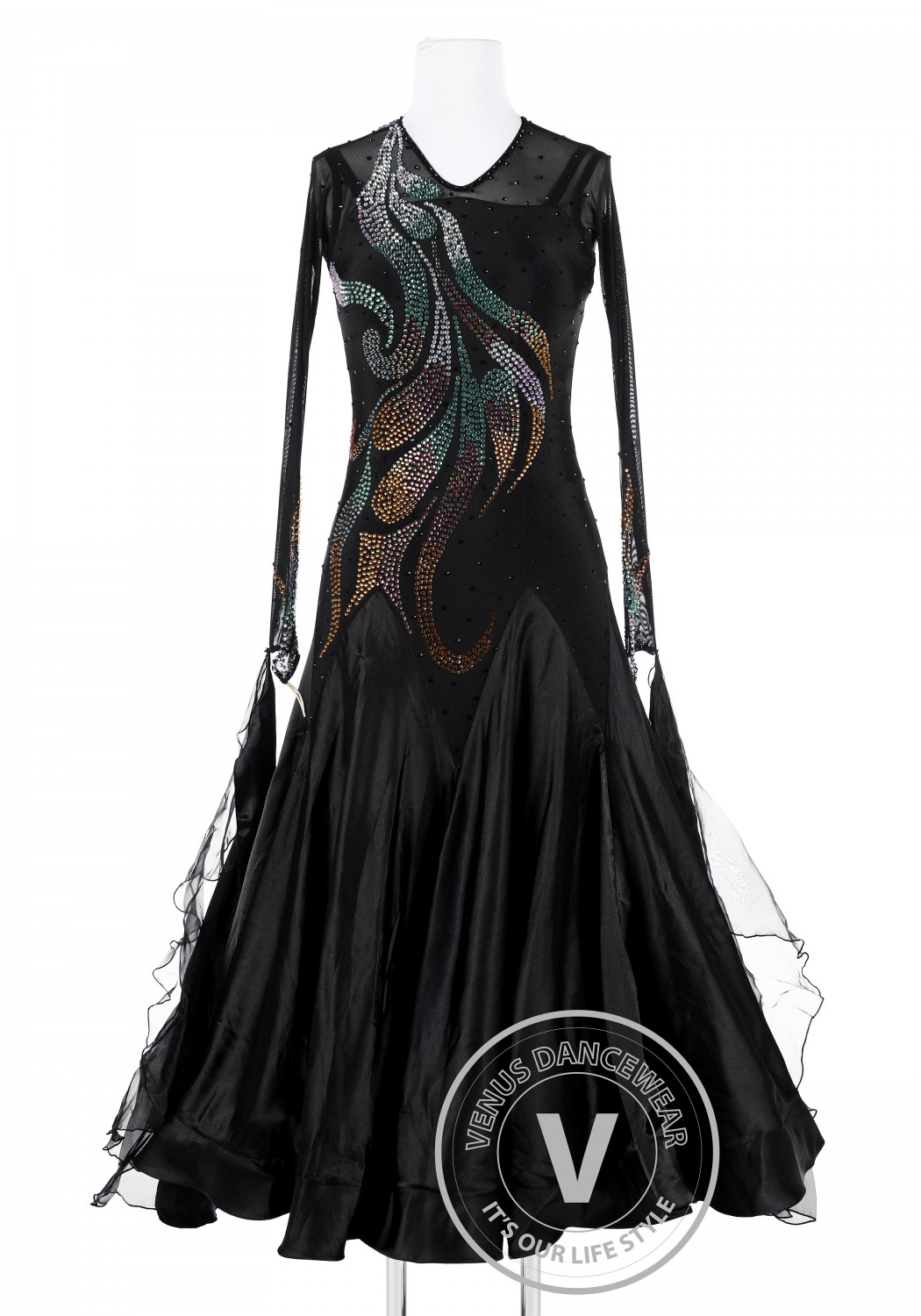 Black Phoenix Tail Standard Foxtrot Waltz Quickstep Dress