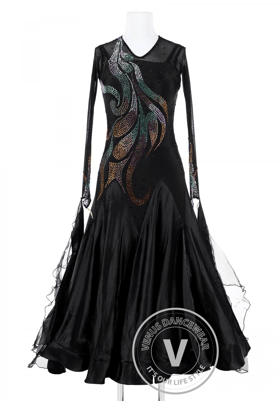 Black Phoenix Tail Standard Foxtrot Waltz Quickstep Dress