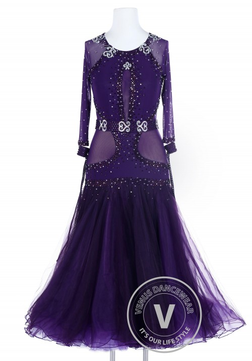 Plum Luxury Sexy Smooth Foxtrot Waltz Quickstep Competition Dress