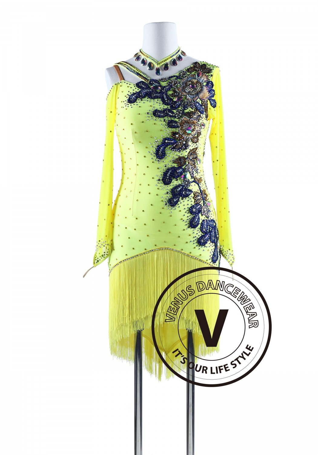 Yellow Fringe Tango Salsa Latin Rhythm Competition Dress