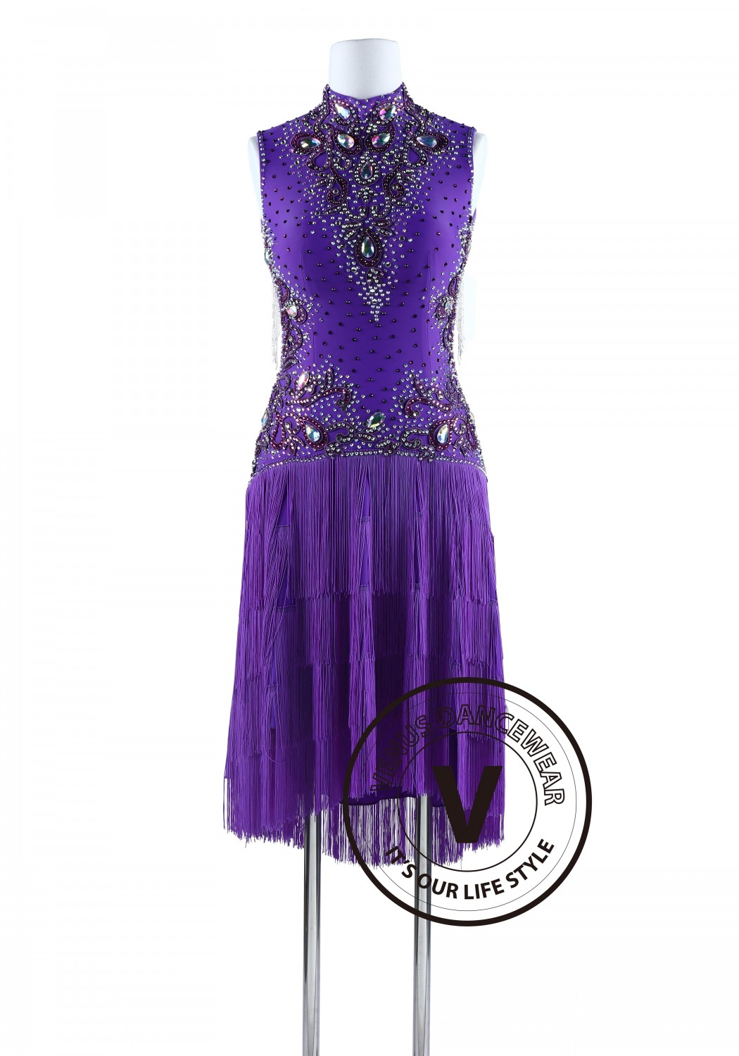 Purple Fringe and Bead Cube Tango Salsa Latin Rhythm Dress