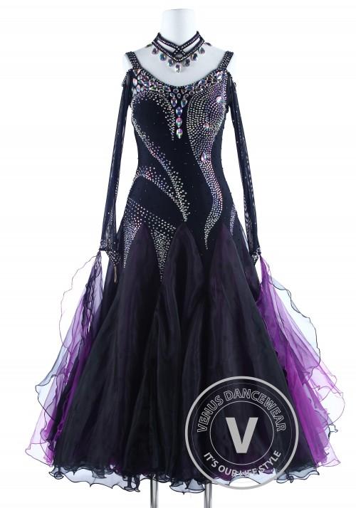 Purple Black Luxury Foxtrot Waltz Quickstep Competition Dress