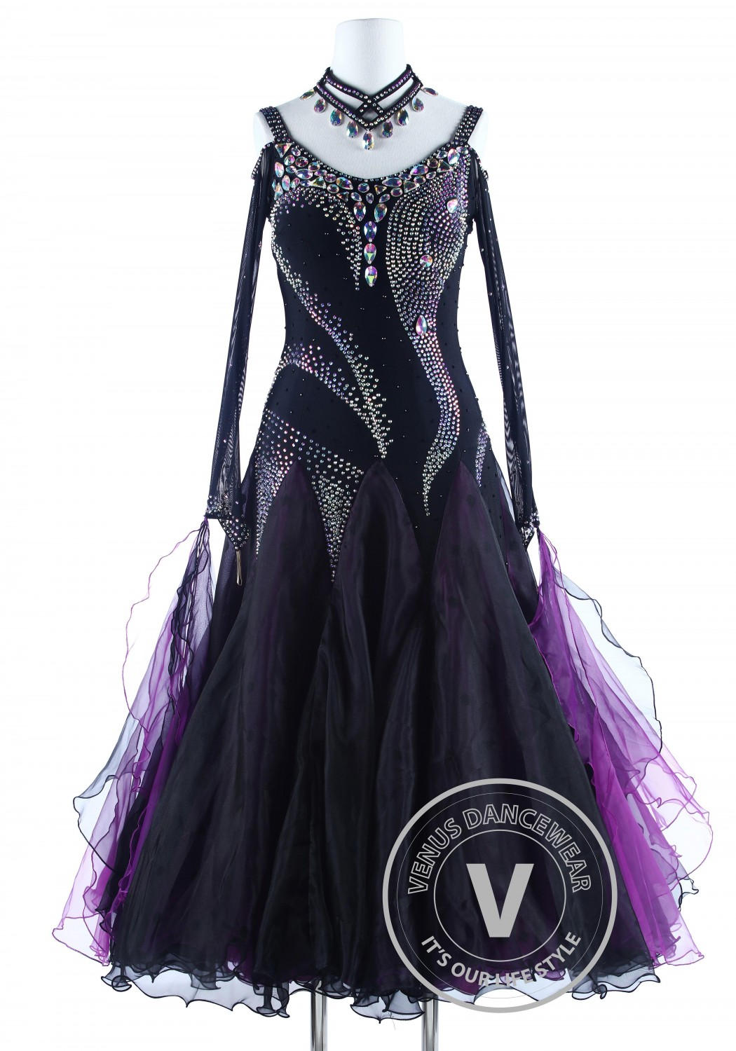Purple Black Luxury Foxtrot Waltz Quickstep Competition Dress