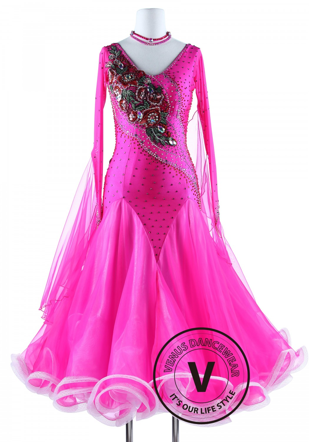 Pink Luxury Competition Foxtrot Waltz Quickstep Dress