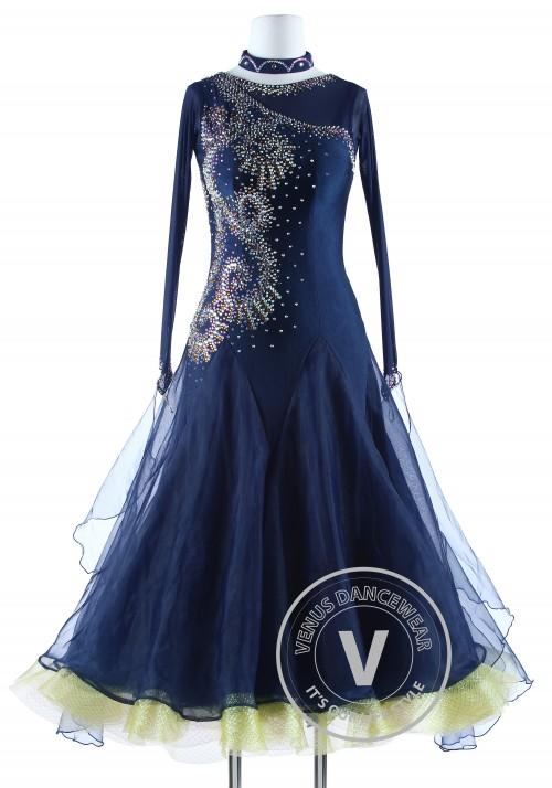 Navy Blue Luxury Competition Foxtrot Waltz Quickstep Dress