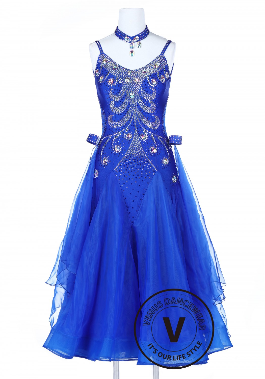 Royal Blue Elegant Smooth Competition Foxtrot Waltz Quickstep Dress