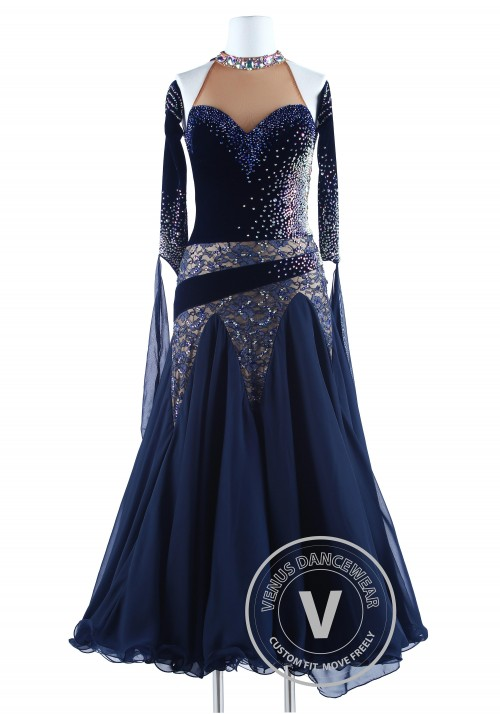 Navy Blue Velvet and Lace Waltz Quickstep Competition Dress