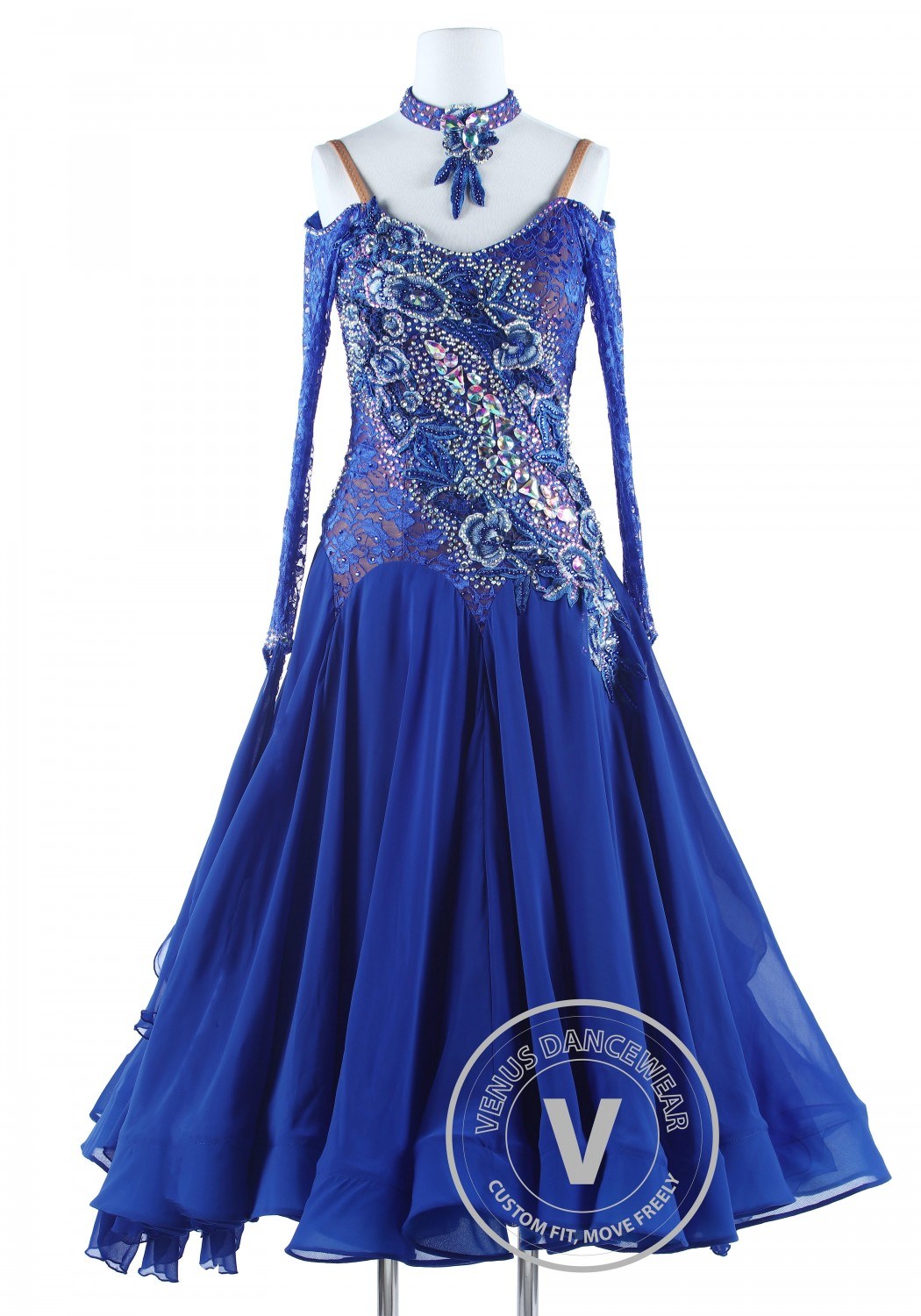 Ripple on Lace Blue Luxury Foxtrot Waltz Quickstep Competition Dress