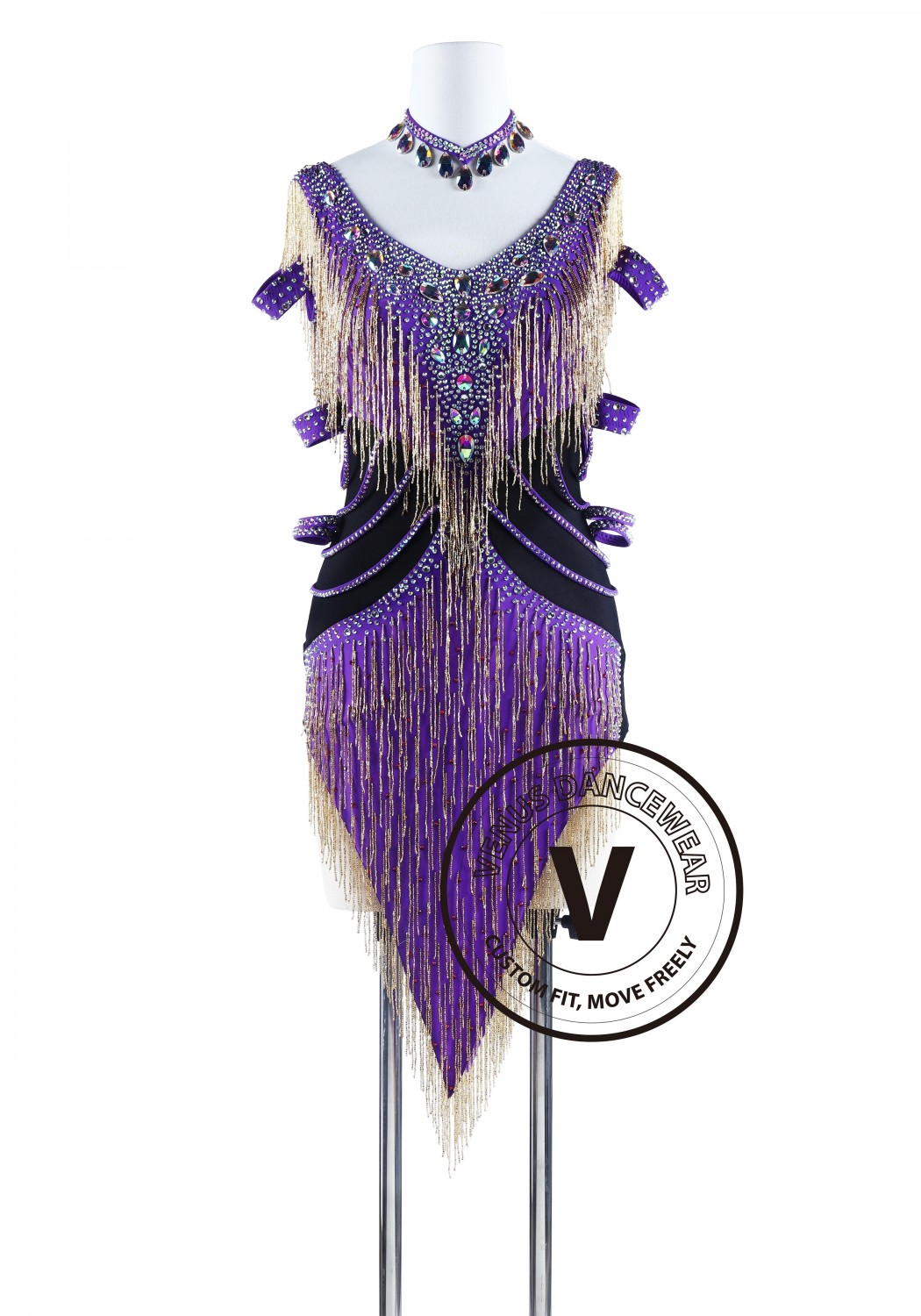Purple With Gold Beading Cube Latin Rhythm Competition Dress