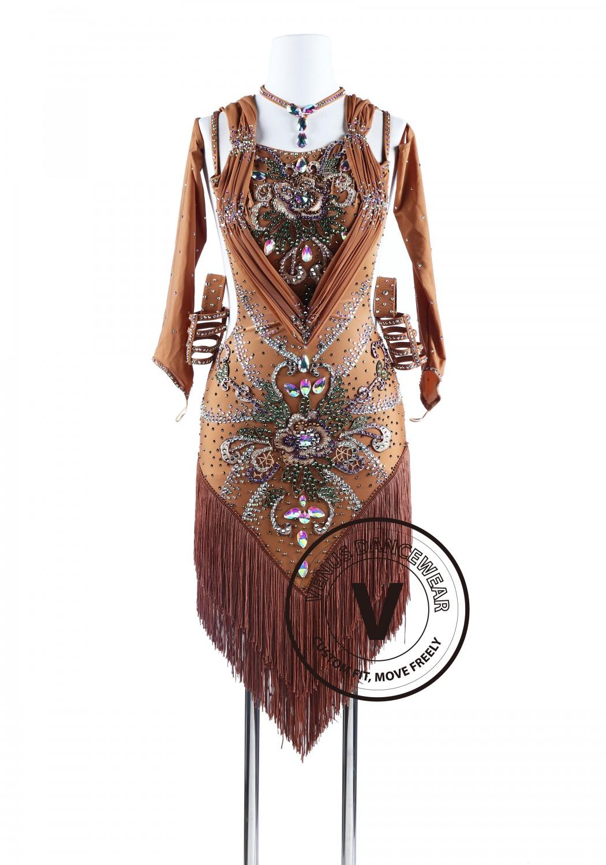 2a5f944ae6ca Bohemian Style Brown Fringe Tango Salsa Latin Rhythm Competition Dress