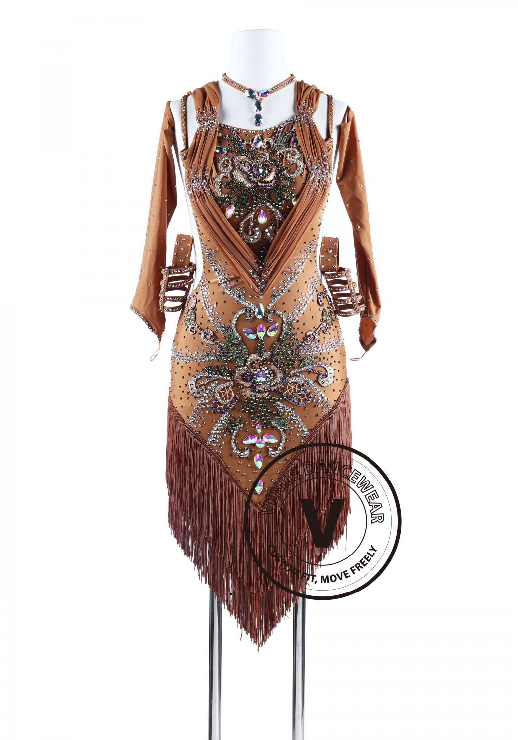 Bohemian Style Brown Fringe Tango Salsa Latin Rhythm Competition Dress