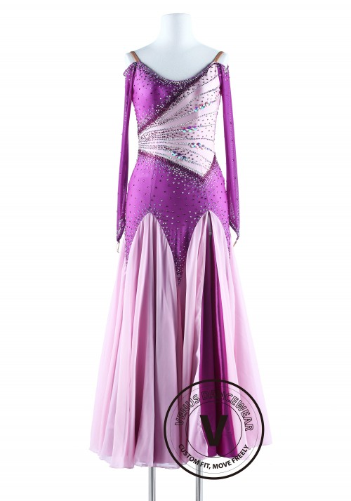 Lavendar and Pinkish Smooth Waltz Quickstep Competition Dress