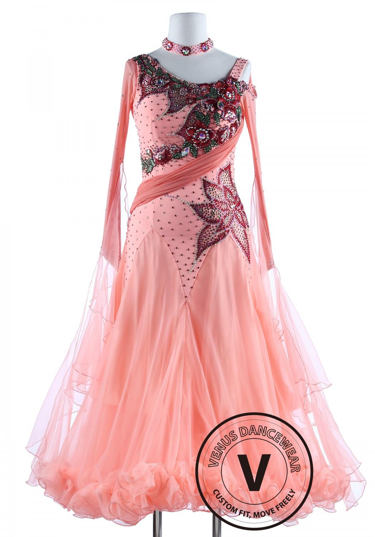 Light Salmon Color Luxury Foxtrot Waltz Quickstep Competition Dress