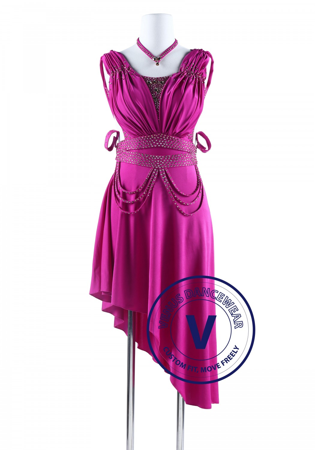 Fuchsia Drape Back Tango Salsa Latin Rhythm Competition Dress